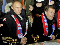 Медведев и Путин на футболе