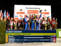 Российские биатлонисты выиграли золото эстафеты в Рупольдинге