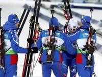 Мужская сборная России по биатлону выиграла серебро в эстафете