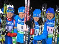 Российские биатлонистки выиграли эстафету в Оберхофе